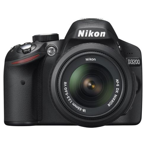 Nikon D3200 Digital SLR Camera, Black, 24.2MP with 18-55mm Lens, 3