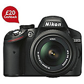 "Nikon D3200 Digital SLR Camera, Black, 24.2MP with 18-55mm Lens, 3"" LCD Screen"