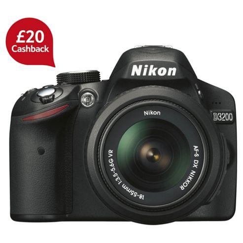 Nikon D3200 Digital SLR Camera, Black, 24.2MP with 18-55mm Lens, 3