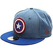 New Era Cap Co Denim Hero Captain America Fitted Cap Size: 7 1/2 inch