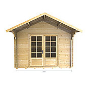 10ft x 10ft (3m x 3m) Apex Log Cabin - Double Glazing (28mm Wall Thickness)