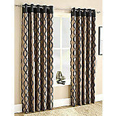 Bellfield Capri Ready Made Eyelet Curtains- Fully Lined - Black, Red & Teal - Black