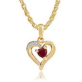 Gemondo 9ct Yellow Gold 0.26ct Natural Ruby & Diamond Heart Pendant on Chain