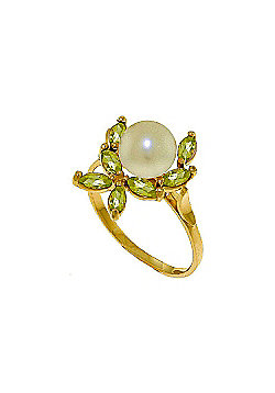QP Jewellers Peridot & Pearl Ivy Ring in 14K Gold