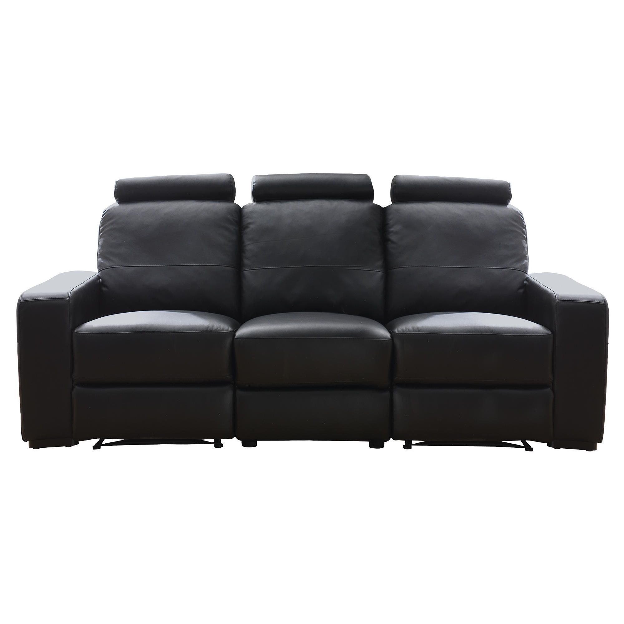 Barcelona Leather Large Recliner Sofa Black at Tesco Direct