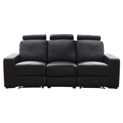 Barcelona Leather Large Recliner Sofa Black
