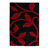 Oriental Carpets & Rugs Fashion Carving 7647 Black/Red Rug - 80cm x 150cm