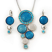 Rhodium Plated Aqua Blue Enamel, Crystal 'Multi Circle' Pendant & Drop Earrings Set - 38cm Length/ 5cm Extension