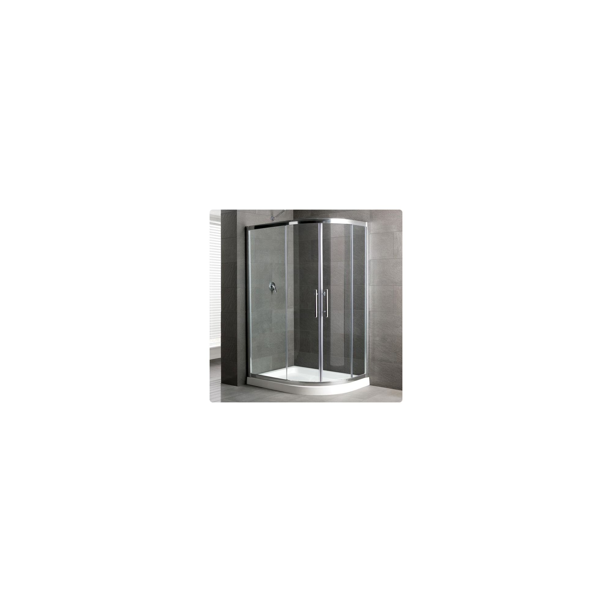 Duchy Select Silver 2 Door Offset Quadrant Shower Enclosure 1000mm x 800mm, Standard Tray, 6mm Glass at Tesco Direct