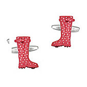 Pink & White Dotty Welly Cufflinks