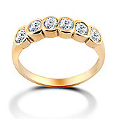 Jewelco London 9ct Solid Gold CZ set Rub-over Eternity Ring