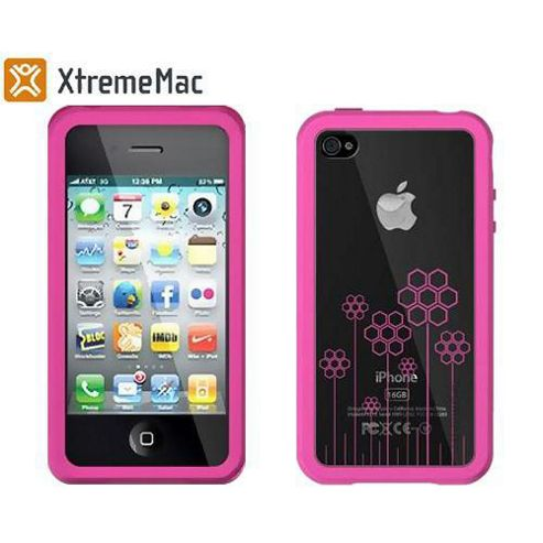 xTremeMac Microshield TATU Case Cover & Screen Protector for iPhone 4 - Pink Flowers