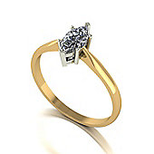 18ct Gold 8x4 Marquise Cut Moissanite Single Stone Ring