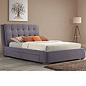 Happy Beds Mayfair Fabric Bed 6ft Grey 4 Drawer Pocket Sprung Mattress