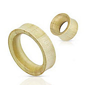 Pair Of Organic White Crocodile Wood Double Flared Flesh Tunnels 4mm