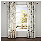 Poppy Floral Lined Eyelet Curtains - Natural