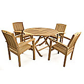 Oakham 4 Seater Folding Round Teak Set - Outdoor/Garden table and Chair set.