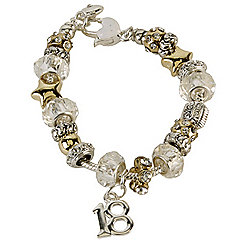 18th Birthday Charm and Crystal Bead Bracelet