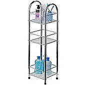 Chrome - Metal 3 Tier Storage Unit / Shelves - Silver