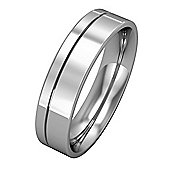 Jewelco London 18ct White Gold - 5mm Essential Flat-Court with Fine Groove Band Commitment / Wedding Ring -