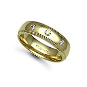 Jewelco London 9ct Yellow Gold 6mm Court Mill-Grain Diamond set 15pts Trilogy Wedding / Commitment Ring