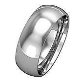 Jewelco London 9ct White Gold - 7mm Essential Court-Shaped Band Commitment / Wedding Ring - Size Z