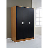 Elements Halden 3 Door Wardrobe - Black