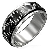 Urban Male Men's Two Colour Spinning / Worry Ring In Stainless Steel 8mm