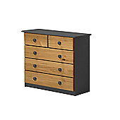 Verona Drawer Chest 3 + 2 Colour Graphite and Antique