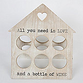 Wine - All You Need Is Love - Rustic 6 Bottle Rack - Brown / White
