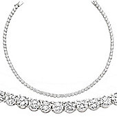 Jewelco London Rhodium-Plated Sterling Silver Tennis Necklace
