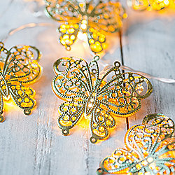 10 LED Gold Butterfly Battery Fairy Lights
