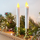 Pair of Battery LED Taper Candles with Gold Bases