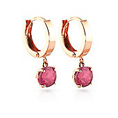 QP Jewellers 2.50ct Ruby Gem Drop Huggie Earrings in 14K Rose Gold