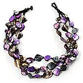 3 Strand Purple & Black Shell - Composite Bead Necklace