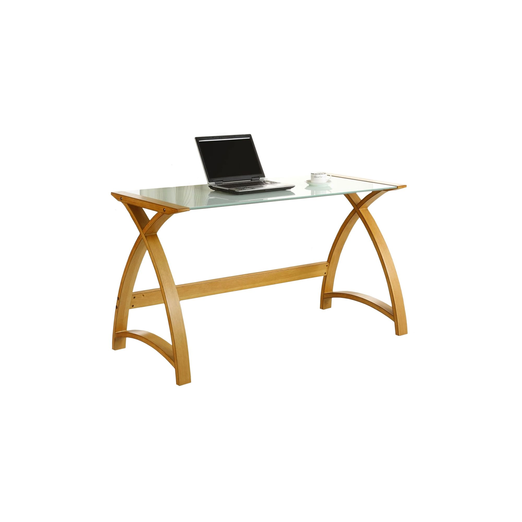 Jual Curve - Curved Oak and White Glass Laptop Desk at Tesco Direct