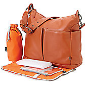 OiOi Hobo Nappy Change Bag - Orange Ochre Two Pocket Leather (6203)