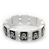 White/Black Wood Flex 'Skull & Crossbones' Bracelet - up to 20cm Length