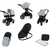 Ickle Bubba Stomp v3 AIO Travel System/Bouncer Combo - Silver (Black Chassis)