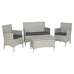 Lola 4-piece Rattan Effect Garden Lounge Set, Grey