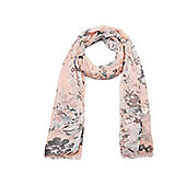 Pink and Grey Vintage Rose Print Summer Scarf