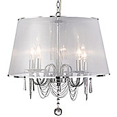 Stunning and Sleek Polished Chrome and Crystal Pendant Light with a Grey Fabric Shade