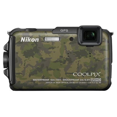 Nikon Coolpix AW110 Digital Camera, Camouflage, 16MP, 5x Optical Zoom, 3.0 inch LCD Screen