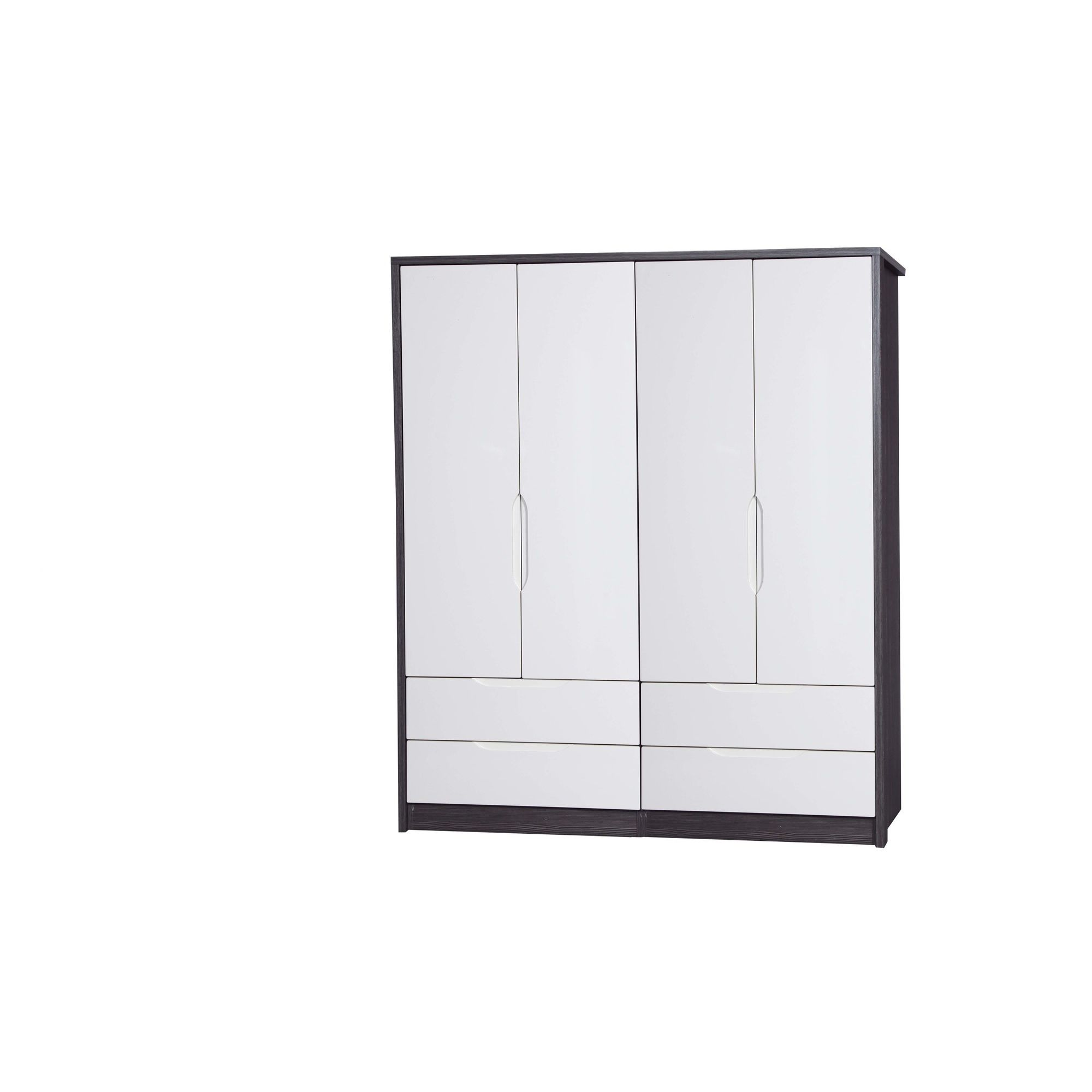 Alto Furniture Avola 4 Door Combi Wardrobe - Grey Avola Carcass With Cream Gloss at Tesco Direct
