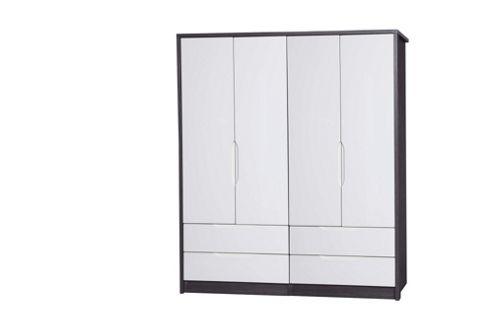 Alto Furniture Avola 4 Door Combi Wardrobe - Grey Avola Carcass With Cream Gloss