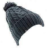 Audio Beanie Chunky Knit Pom Pom Ink with In Line Mic