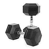 Body Power 27.5Kg Rubber Hex Dumbbells (x2)