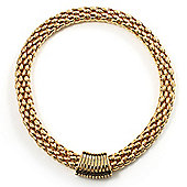 Gold Tone Wide Mesh Magnetic Fashion Choker Necklace