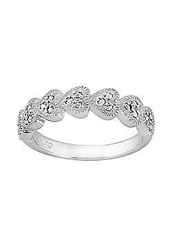 Gemondo Sterling Silver 0.25ct Marcasite Seven Hearts Ring