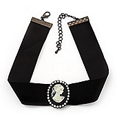 Black Velour Ribbon Pearl 'Cameo' Choker Necklace - 30cm Length & 8cm Extension